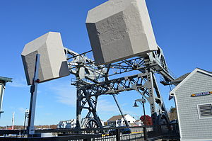 Mystic River Bascule Bridge - Good view of the counter weights.
