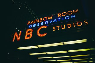 The corporate headquarters of the National Broadcasting Company at 30 Rockefeller Plaza in New York City
