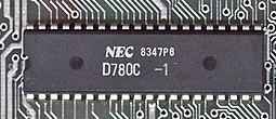 NEC's μPD780C Z80 clone on a ZX Spectrum board.