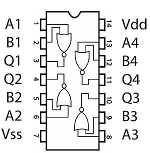 NOR gate - Pinout Diagram of a 4001 Quad NOR DIP-format IC