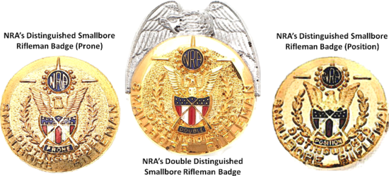 NRA Distinguished Smallbore Rifleman Badges