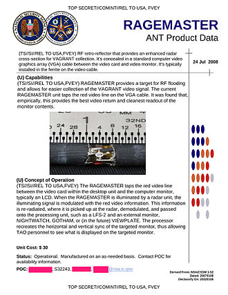 NSA ANT catalog - NSA ANT product data for RAGEMASTER
