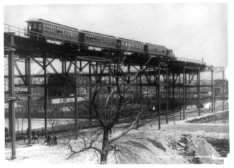 "IRT Ninth Avenue Line - The Ninth Avenue El's ""suicide curve"" at 110th Street, in 1896"