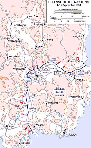 A map of troop movements against a defensive line on the southeastern tip of a landmass