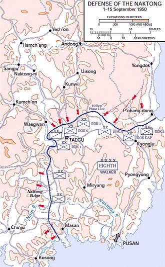 The Great Naktong Offensive - Map of the Naktong Defensive line, September 1950.