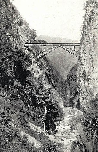Kunming–Haiphong railway - The Faux Namti (Wujiazhai) Bridge over the Sicha River, in the Nanxi Valley region. More than 800 Chinese coolies died here.