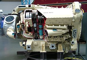 British Rail Class 55 - A sectioned Napier Deltic engine at the National Railway Museum