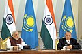 Narendra Modi giving his statement to the media during Joint Press briefing with the President of the Republic of Kazakhstan, Mr. Nursultan Nazarbayev, at Akorda President's Palace, in Astana, Kazakhstan on July 08, 2015.jpg