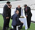 Narendra Modi with the Prime Minister of Australia, Mr. Tony Abbott, Shri Sunil Gavaskar, Shri Kapil Dev and Shri V.V.S. Laxman at the Civic Reception hosted by the Australian PM, at MCG, Australia on November 18, 2014 (4).jpg