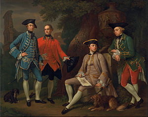 Thomas Robinson, 2nd Baron Grantham - James Grant of Grant, John Mytton, the Hon. Thomas Robinson, and Thomas Wynne by Nathaniel Dance-Holland, c. 1760.