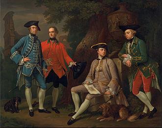 Sir James Grant, 8th Baronet - James Grant of Grant, John Mytton, the Hon. Thomas Robinson, and Thomas Wynne by Nathaniel Dance-Holland, ca. 1760.