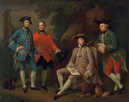 James Grant of Grant, John Mytton, the Hon. Thomas Robinson, and Thomas Wynne by Nathaniel Dance-Holland, c. 1760. Nathaniel Dance-Holland - James Grant of Grant, John Mytton, the Hon. Thomas Robinson, and Thomas Wynne - Google Art Project.jpg