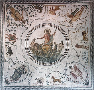 Neptune (mythology) - Triumph of Neptune, Roman mosaic with the Seasons in each corner and agricultural scenes and flora (La Chebba, Tunisia, late 2nd century, Bardo National Museum)