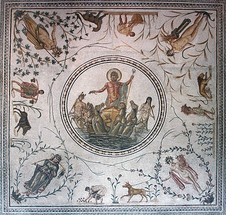 The Triumph of Neptune floor mosaic from Africa Proconsularis (present-day Tunisia), celebrating agricultural success with allegories of the Seasons, vegetation, workers and animals viewable from multiple perspectives in the room (latter 2nd century) Neptune Roman mosaic Bardo Museum Tunis.jpg