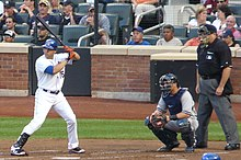 Beltrán bats for the Mets and Russell Martin catches for the Yankees during a 2011 game at Citi Field