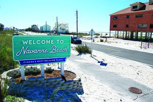 Navarre, Florida - One of the two new Navarre Beach signs, due to the amazing popularity of the old signs among the local community, the new signs led to one of the first protests seen in the beach community