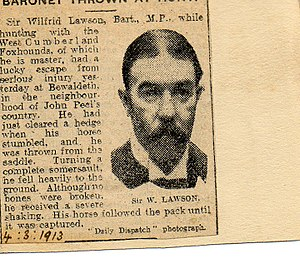 Sir Wilfrid Lawson, 3rd Baronet, of Brayton - Newspaper report of horse racing accident to Sir Wilfrid Lawson