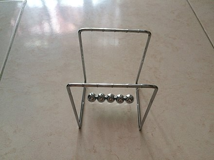 A five-ball Newton's cradle Newton's Cradle 1 Jan 18.jpg