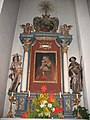 Niederau, Kath. Pfarrkirche hl. Sixtus mit Kriegerdenkmal, rechter Seitenaltar.JPG