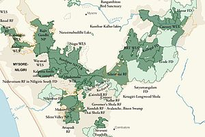 Nagarhole National Park - Map of Nilgiri Biosphere Reserve, showing Nagarhole National Park in relation to multiple contiguous protected areas
