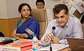 Nirmala Sitharaman chairing the Stakeholder Consultation on e-commerce with the State Commerce Ministers, in New Delhi. The Secretary, Department of Industrial Policy and Promotion (DIPP), Shri Amitabh Kant is also seen.jpg