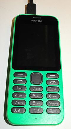 The Nokia 215, which runs on the Series 30+ platform. Nokia215front 3530.jpg