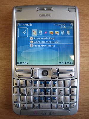 Symbian - Symbian v9.1 with a S60v3 interface, on a Nokia E61