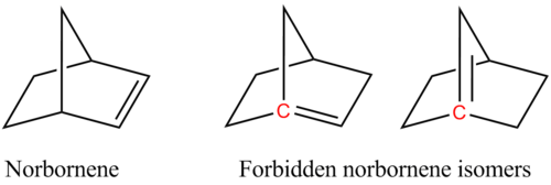 Norbornene isomers Bredt rule.png