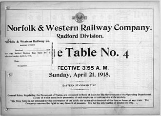 N&W timetable for a division in Virginia, 1918 Norfolk and Western timetable 1918.jpg