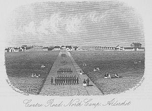 Aldershot Garrison - Print showing the wooden barracks of North Camp in 1866