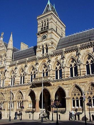 Northampton Guildhall - Northampton Guildhall, built 1861-4, front facing south, E. W. Godwin, architect