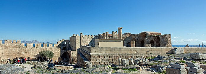 Northwest acropolis of Lindos 2010.jpg