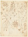 Nude Demon Encircled by a Serpent, after Michelangelo's Last Judgment; and Other Figure Studies (recto); Figure Studies (verso) MET DP146930.jpg