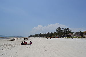 Nyali Beach towards the south from Reef Hotel during low tide and still conditions in Mombasa, Kenya.jpg
