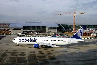 Sobelair - A Sobelair Boeing 767-300 at Brussels Airport in 2001, featuring the latest livery.