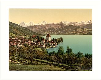 Oberhofen am Thunersee - Oberhofen town between 1890 and 1900