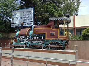 Dehradun railway station - Image: Old steam Loco outside Dehradun railway station