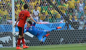 Guillermo Ochoa - Ochoa in action against Brazil during their group stage match at the 2014 FIFA World Cup.