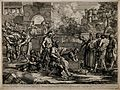 One of the seven Acts of Mercy; Free the captives. Line engr Wellcome V0015268.jpg
