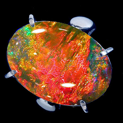 Opal Ring With Black Babd