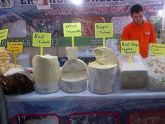 "Tulum cheese - Varieties of tulum, center ""Otlu tulum peyniri"", or Tulum with herbs, in Ankara"