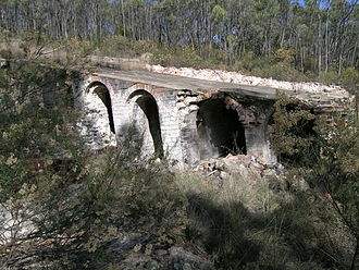 Emmaville, New South Wales - Ottery Arsenic Mine - note the traces of arsenic on the bricks