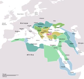 İmparatorluğun son genişleme hareketi ile en geniş sınırlarına ulaştığı 1590 yılındaki toprakları. * Osmanlı Beyliği * 1300-1359 yılları arasındaki ilk genişleme. * 1359-1451 yılları arasındaki genişleme. * 1451-1481 yılları arasındaki genişleme. * 1512-1520 yılları arasındaki genişleme. * 1520-1566 yılları arasındaki genişleme. * 1566-1683 yılları arasındaki son genişleme.