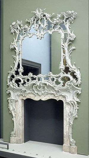 Fireplace mantel - Chimneypiece and overmantel, about 1750, Victoria & Albert Museum No. 738:1 to 3-1897