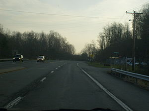 Pennsylvania Route 940 - PA 940 westbound past the I-80 interchange in White Haven.