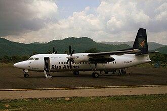 Komodo Airport - A Riau Airlines Fokker 50 at Komodo Airport