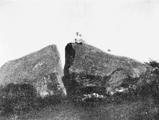 PSM V68 D212 Cleft glacial boulder near hague lake george.png
