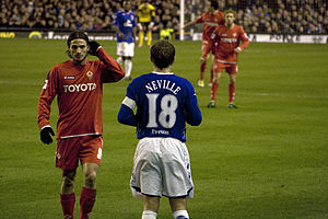 Phil Neville - Neville playing for Everton against Fiorentina in the UEFA Cup in 2008