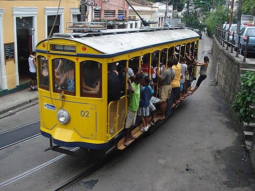 Packed Rio tram 02 near Largo Guimarães