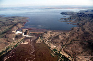 Gila River - Painted Rock Dam in central Arizona, with its usually dry reservoir nearly full after heavy runoff in 2005